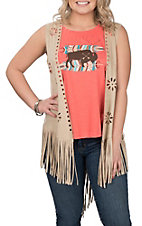 Ariat Women's Faux Suede Shake It Floral and Fringe Vest