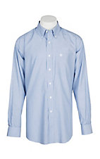 Ariat Men's Faded Solid Blue Wrinkle Free L/S Western Shirt