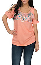 Ariat Women's Peach Lexi Cold Shoulder w/ Embroidery Casual Knit Shirt