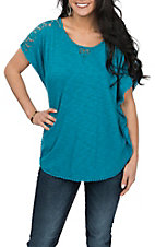 Ariat Women's Blue Sunset Lace Pom Fashion Shirt
