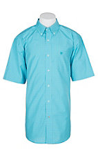 Ariat Pro Series Turquoise Graph Checker Gunner S/S Western Shirt - Big and Tall