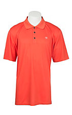 Ariat Men's Poppies Orange Heat Series Tek Polo Shirt