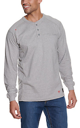 Ariat Men's Silver Fox Heather Air Henley L/S Flame Resistant Work Shirt - Big & Tall