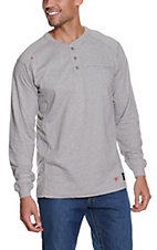 Ariat Men's Silver Fox Heather Air Henley L/S Flame Resistant Work Shirt