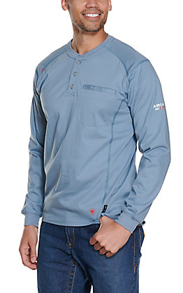 Ariat Men's Steel Blue Air Henley Long Sleeve FR Work Shirt