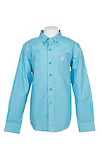 Ariat Boy's Blue Miracle Geo Print Cavender's Exclusive L/S Western Shirt