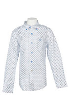 Ariat Boy's White Longhorn Print Cavender's Exclusive L/S Western Shirt