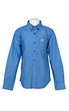 Ariat Boy's Vibrant Blue Geo Print Cavender's Exclusive L/S Western Shirt
