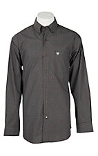 Ariat Men's Brown Coffee Bean Geo Print Cavender's Exclusive L/S Western Shirt - Big & Tall