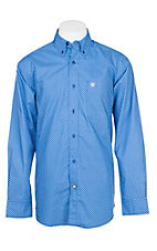 Ariat Men's Vibrant Blue Geo Print L/S Cavender's Exclusive Western Shirt