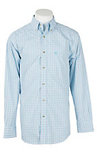 Ariat Pro Series Men's Light Blue Grid Plaid Cavender's Exclusive L/S Western Shirt