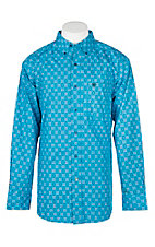 Ariat Men's Laketon Deep Aqua Print S/S Western Shirt