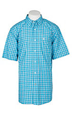 Ariat Pro Series Men's Lawson Deep Aqua Plaid S/S Western Shirt
