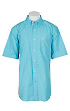 Ariat Pro Series Men's Leroy Blue Atoll Plaid S/S Western Shirt