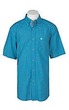 Ariat Pro Series Men's Luther Deep Aqua Plaid S/S Western Shirt
