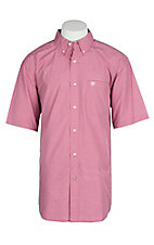 Ariat Pro Series Men's Rose Red Lindale Plaid S/S Western Shirt