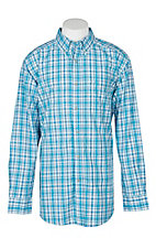 Ariat Pro Series Men's Light Blue & White Lonnie Plaid L/S Western Shirt