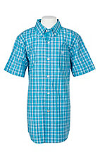 Ariat Pro Series Boys Lawson Deep Aqua Plaid S/S Western Shirt