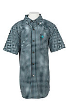 Ariat Pro Series Boys Lehman Black Plaid S/S Western Shirt