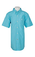 Ariat Pro Series Boys Leroy Blue Atoll Plaid S/S Western Shirt