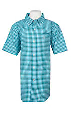 Ariat Pro Series Boys Negan Blue Bird Plaid S/S Western Shirt