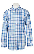 Ariat Pro Series Men's Mustang Blue and White L/S Western Shirt