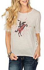 Ariat Women's White Giddy Up Screen Print w/ Fringe Casual Knit Shirt