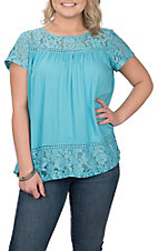 Ariat Women's Light Blue w/ Lace and Split Back Fashion Shirt