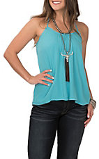 Ariat Women's Blissful Turquoise with Crochet T-Back Sleeveless Fashion Tank Top