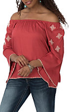 Ariat Women's Red Kristine Embroidered Bell Sleeve Fashion Shirt