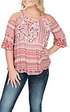Ariat Women's Red Theresa Cold Shoulder Fashion Shirt