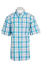 Ariat Pro Series Men's White and Blue Lowry Plaid S/S Western Shirt