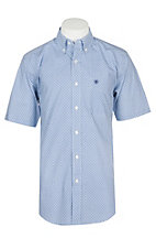 Ariat Men's Blue and White Myers Print Fitted S/S Western Shirt