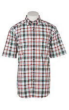 Ariat Men's Neilson Coral, Brown & Turquoise Plaid Short Sleeve Western Shirt