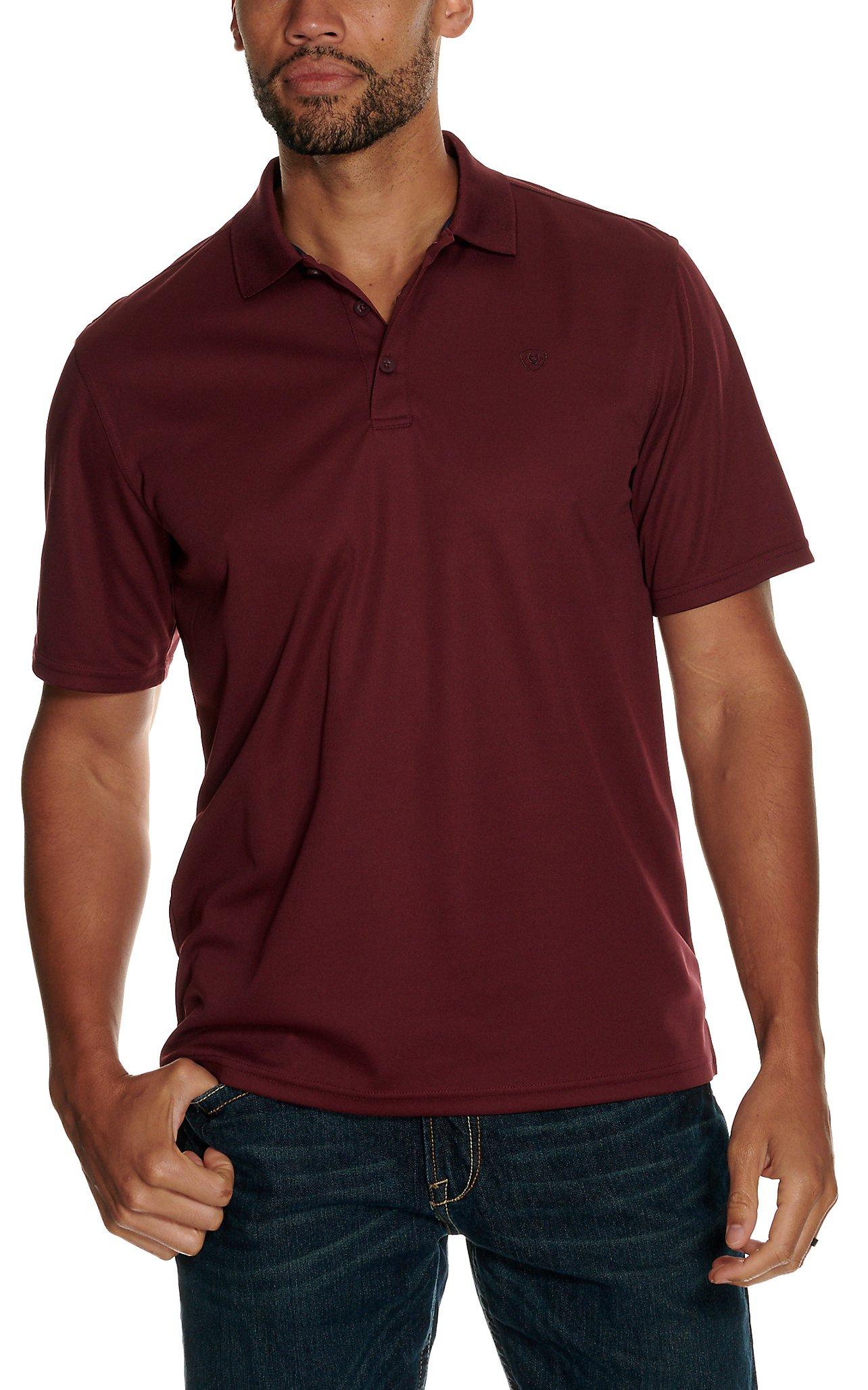 Ariat Mens Maroon Heat Series Tek Polo Shirt Cavenders