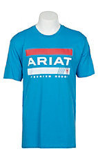 Ariat Men's Light Blue Bar Stripe Logo T-Shirt