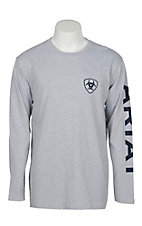 Ariat Men's Grey Branded Long Sleeve T-Shirt