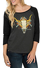 Ariat Women's Grey & Black Aztec Skull 3/4 Sleeve Casual Knit Shirt