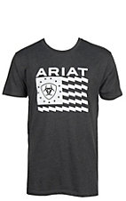 Ariat Men's Charcoal Logo w/ Flag Grapic S/S T-Shirt