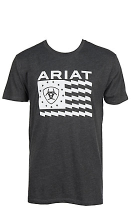 Ariat Men's Charcoal Logo with Flag Grapic Short Sleeve T-Shirt