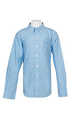 Ariat Boys Blue and White Jonah Print Cavender's Exclusive L/S Western Shirt