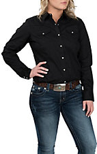 Ariat Women's REAL Black Long Sleeve Cavender's Exclusive Western Snap Shirt