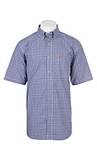 Ariat Pro Series Blue and Red Daxton Mini Plaid S/S Cavender's Exclusive Western Shirt
