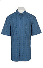 Ariat Caidan Blue Donnelly Print Stretch S/S Cavender's Exclusive Western Shirt - Big and Tall
