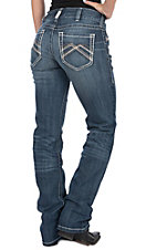 Ariat Women's REAL Mid Rise Straight Leg Cascade Jeans