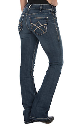 Ariat Women's REAL Tulip Mid Rise Stretch Boot Cut Jeans