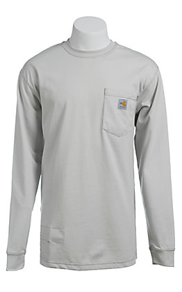 Carhartt Men's Light Grey Flame-Resistant Force Cotton Long-Sleeve T-Shirt