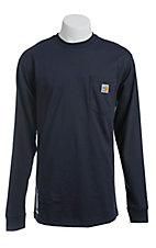 Carhartt Men's Navy Flame-Resistant Force Cotton Long-Sleeve T-Shirt