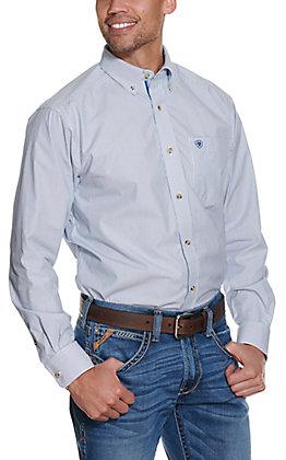 Ariat Pro Series Men's Sheer Ancient Royal Blue Mini Stripes Western Shirt