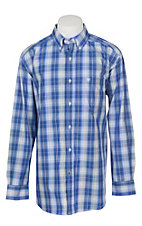 Ariat Pro Series Men's Pablo Washed Cobalt Plaid L/S Western Shirt